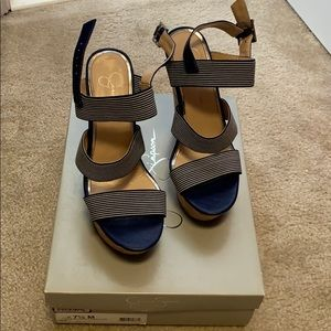 Jessica Simpson navy and white wedges